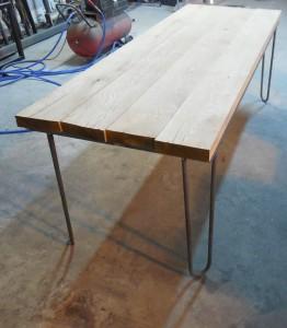 table bistrot avant coupe des planches