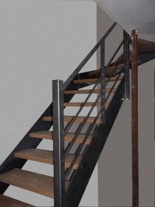 escalier limon en plats marches en bois et rampe