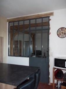 verriere cloison type atelier partie fixe et porte vue interieure porte fermee